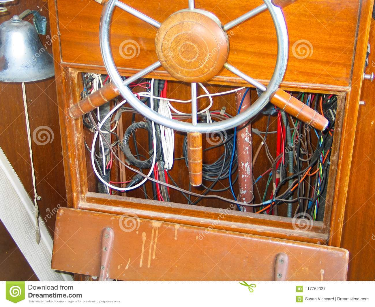 Enjoyable Steering Wheel And Exposed Wiring Inside Helm Of Old Wooden Boat Letkol Mohammedshrine Wiring Cloud Letkolmohammedshrineorg